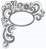 Oval Picture Frame Border Back to School Sketchy Notebook Doodles- Illustration Design Element on Lined Sketchbook Paper Background