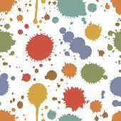 picture of pigment  - Seamless pattern of colorful stains and splashes of ink  paint or pigment scattered randomly on a white background in square format  vector illustration - JPG
