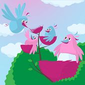 Cute Cartoon Birds With An Expanding Family