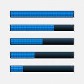 Set of Blue Progress Bars. Vector Loading Bars