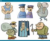 stock photo of thug  - Cartoon Illustration Set of Thieves and Ruffians or Thugs Bad Guys Characters - JPG