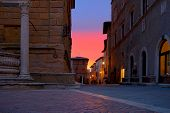 Sunset on the streets of Pienza