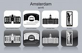 Landmarks of Amsterdam. Set of monochrome icons. Editable vector illustration.