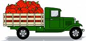 stock photo of truck farm  - A vintage style truck loaded with pumpkins - JPG