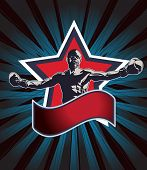 picture of pugilistic  - Boxing champion icon or emblem showing a triumphant boxer with outstretched arms standing in front of a star with a red banner below with copyspace on a background of radiating blue beams - JPG