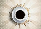 Conceptual image of cup of coffee against sketch background