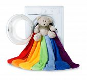 Washing Machine, Toy And Colorful Things To Wash, Isolated