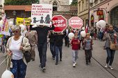 KRAKOW, POLAND - JUNE 1 , 2014 : Rally against abortion in defense of life and family. Inscriptions on a banners : Stop abortion, the right to be born each child etc.