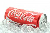 Can of Coca-Cola drink on ice