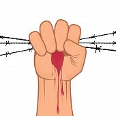 image of revolt  - Clenched fist hand in blood with barbed wire vector - JPG