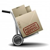 detailed illustration of a handtruck or trolley with cardboxes with worldwide shipping label on them