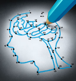 pic of organ  - Intelligence therap and brain research challenges as a medical concept with a connect the dots drawing puzzle connected by a blue pencil representing a doctor shaped as a human head and thinking organ - JPG