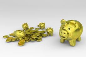 pic of wallow  - Golden piggy bank with brood wallowing with coins - JPG