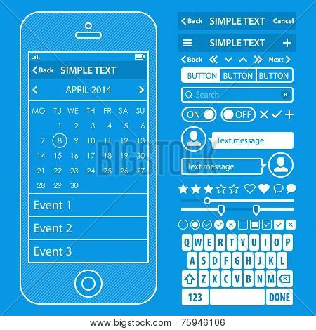 Ui elements blueprint design vector kit in trendy color with simple ui elements blueprint design vector kit in trendy color with simple mobile phone buttons malvernweather Image collections