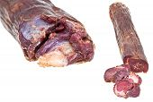 Set Of Horse Meat Sausage Kazy Close Up Isolated