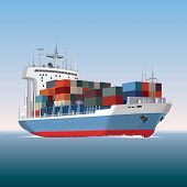 image of sail ship  - Cargo container ship sailing isolated - JPG