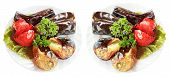 Two Plates With Grilled Vegetables Isolated