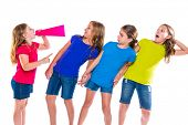 megaphone leader kid girl shouting speaking to friends on white background political leadership