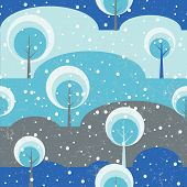 Winter forest Trees on glade seamless vector pattern.