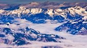 Panoramic view from the top of Kaprun glacier at Austrian alps