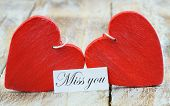 picture of miss you  - Miss you card with two red wooden hearts - JPG