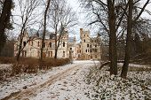stock photo of manor  - Medieval Russia Manor House view over a frozen river - JPG