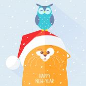image of snow owl  - Stylish flat new year card with funny and cute cat and owl - JPG
