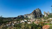 Kastaraki Of Meteora, In Greece. The Village Of Kastaraki Located Under Meteora Mountains And It's A