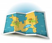 image of treasure map  - Illustration of a cartoon treasure island and map icon - JPG