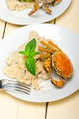 Italian Gnocchi With Seafood Sauce With Crab And Basil