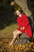Woman At Autumn Park And Yellow Leaves