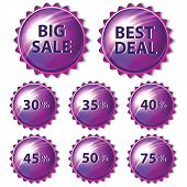 Set of purple stickers on white background.