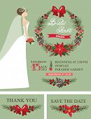 Winter Bridal shower set.Bride,Christmas wreath,decor