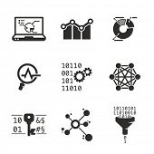 Data mining and Analytic | Grayscale icons set