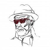 Drawing of aged man, gentlemen