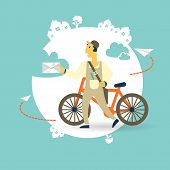 pic of postman  - postman on a bike with a letter icon - JPG