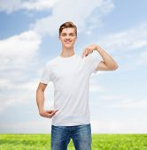 gesture, advertising, summer vacation and people concept - smiling young man in blank white t-shirt pointing fingers on himself over natural background