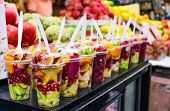 picture of exotic_food  - variety of fresh exotic fruits in glass in the supermarket - JPG