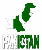 Pakistan map flag and text illustration