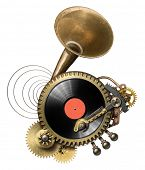 Stylized steampunk metal collage of vinyl record turntable
