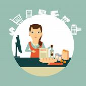 grocery store cashier at work illustration