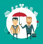 insurance agent holding umbrella illustration