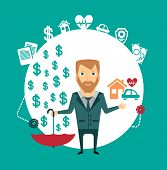 insurance agent holding a house, a car, a heart and an umbrella in the other hand, where the money s