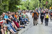 Crowd Of Fans On The Roads Of Le Tour De France