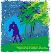 Couple Kissing - Abstract Card With The Tropics In The Background