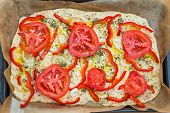 Delicious Fresh Traditional Italian Focaccia Bread Uncooked
