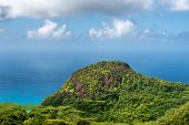 View from Mission Lodge Lookout over the rainforests and coastline of Mahe, Seychelles