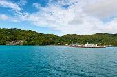 Scenic of Coastline of Praslin Island in the Seychelles