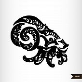 Zodiac signs black and white - Capricorn