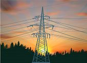 illustration with electric tower in forest at sunset